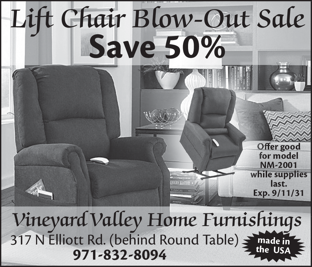 Lift chair blow out sale in newberg or furniture vineyard valley home furnishings