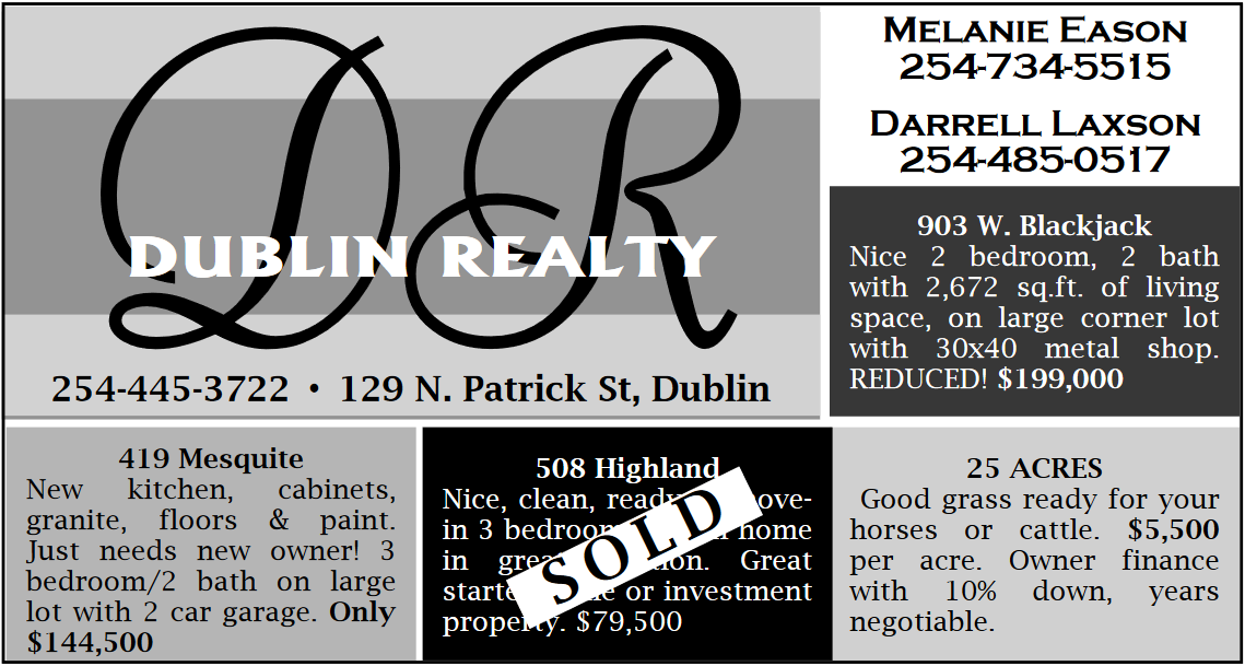 New Real Estate Available Now in Dublin, TX, Real Estate